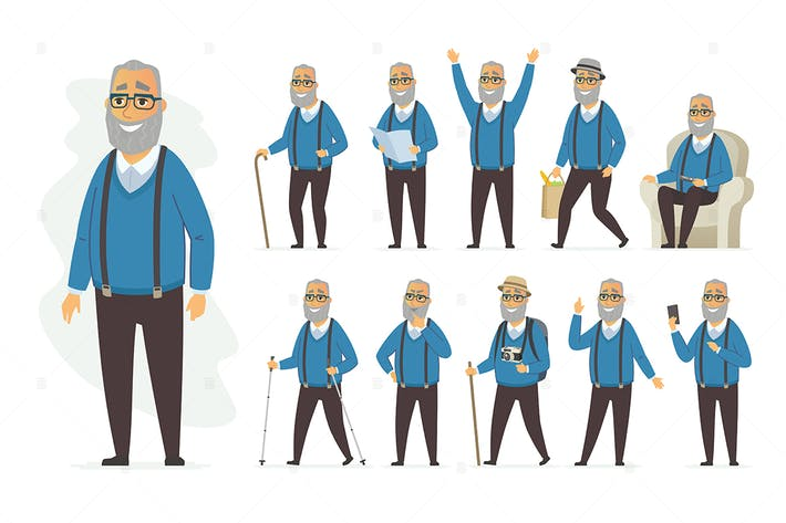 Thumbnail for Senior man - vector cartoon people character set