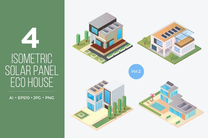 Thumbnail for Isometric Solar Panel Eco House Vector Set 2