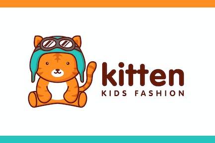 Cartoon Cute Kitten Character Mascot Logo