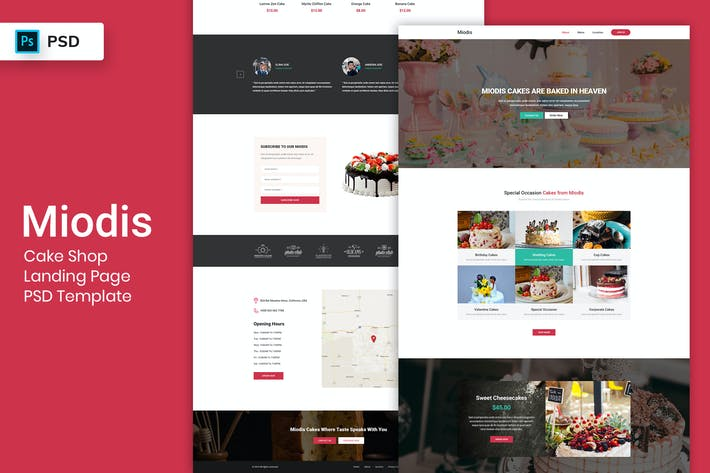 Thumbnail for Cake Shop - Landing Page PSD Template