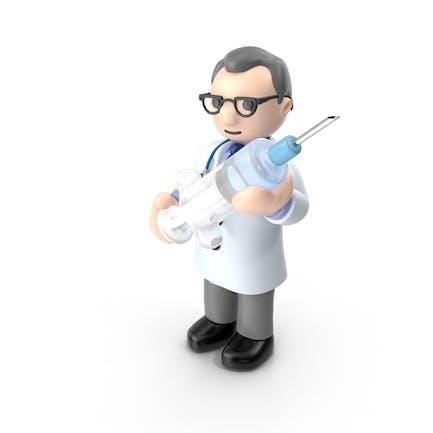 Doctor de dibujos animados con jeringa