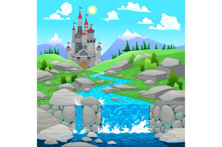 Thumbnail for Mountain Landscape with River and Castle.
