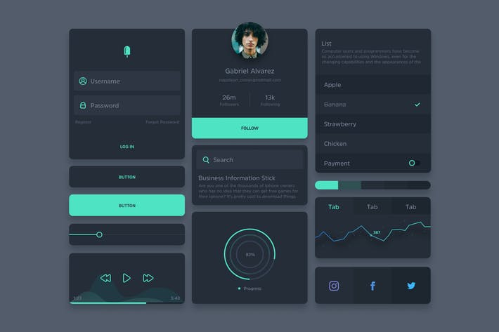 Thumbnail for Ivo - Dark UI Kit