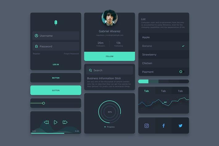 Thumbnail for Ivo - Kit de interfaz de usuario Oscuro