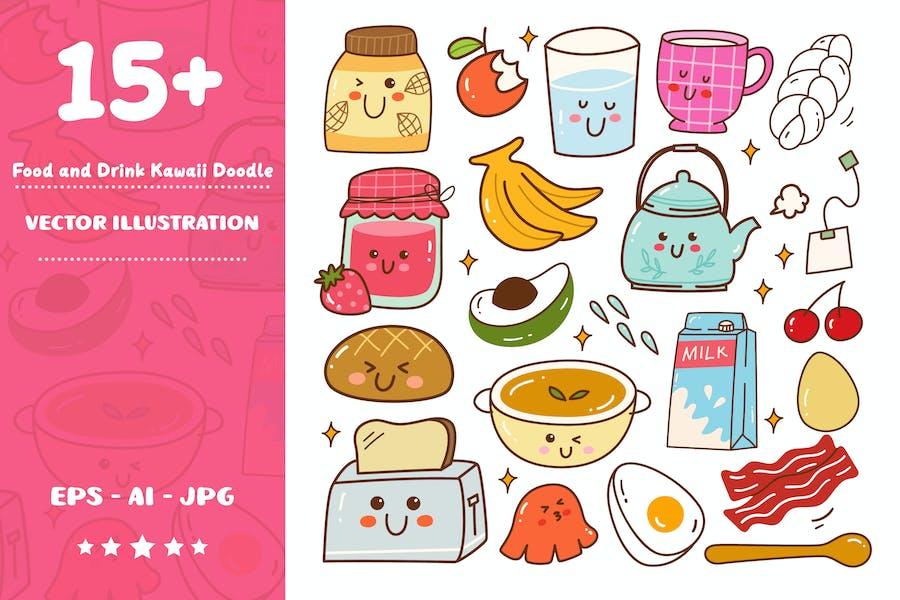 Frühstück Essen und Trinken Kawaii Doodle Set