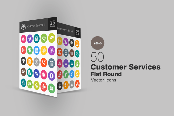 Thumbnail for 50 Customer Services Flat Round Icons