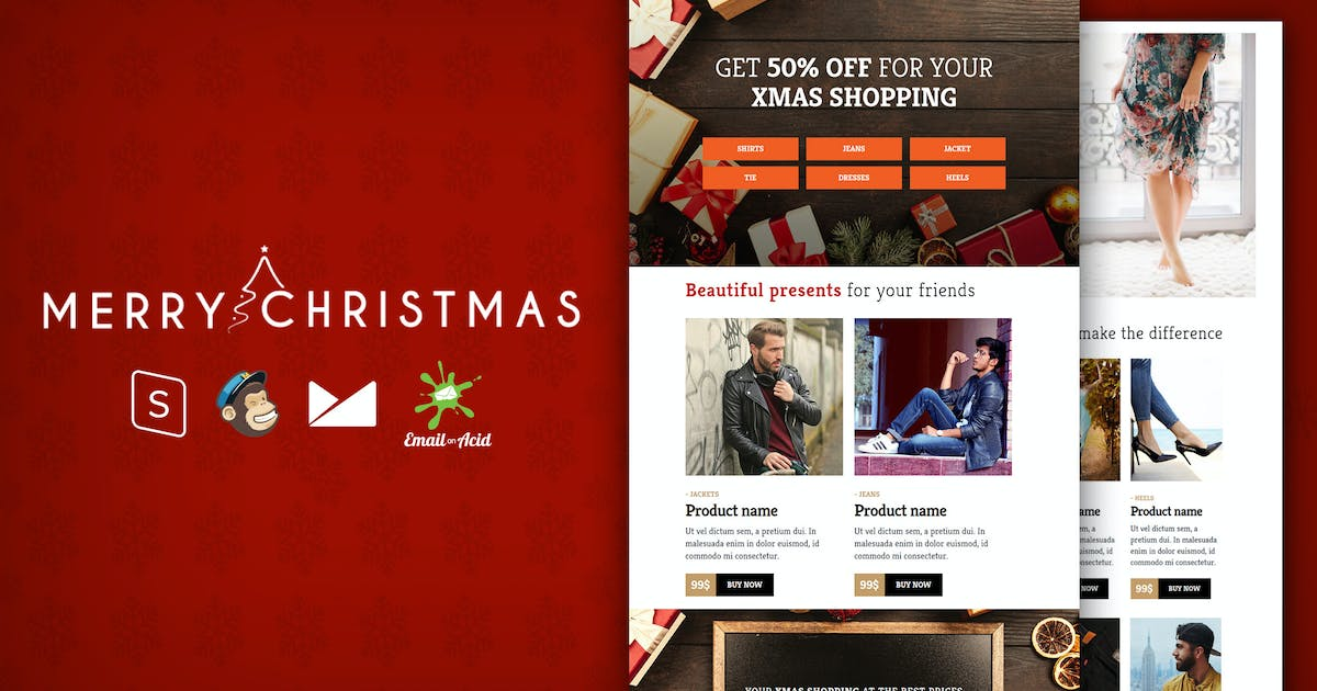 Download XMAS - E-commerce Responsive Email Template by Psd2Newsletters