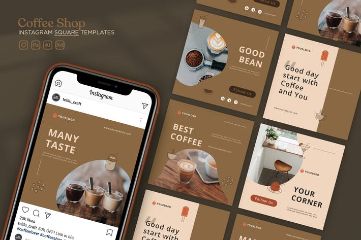 Thumbnail for Instagram Square Templates Vol.29 Coffee Shop