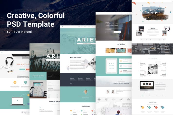 Thumbnail for Aries - Multipurpose Creative PSD Template