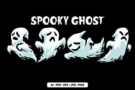 Spooky Ghost Halloween Illustration