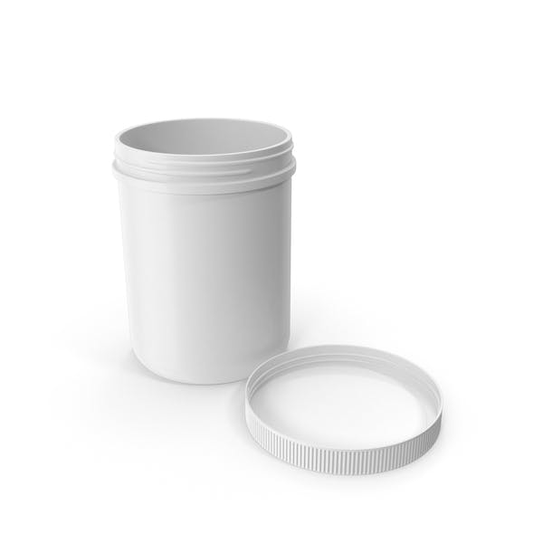 Plastic Jar Wide Mouth Straight Sided 60oz Cap Laying White