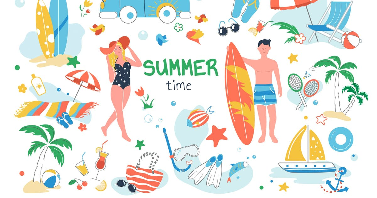 Download Summer Time Set Isolated Elements by DesignSells