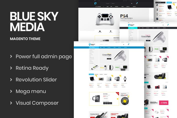 Thumbnail for Bluesky-Media Responsive Magento 2 Theme