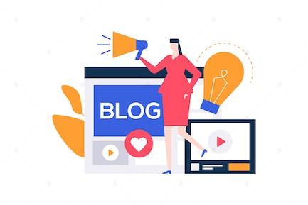 Weibliche Bloggerin - flache Design-Stil Illustration