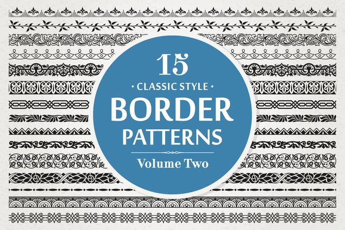 Thumbnail for 15 Vector Border Patterns Classic Style Volume 2
