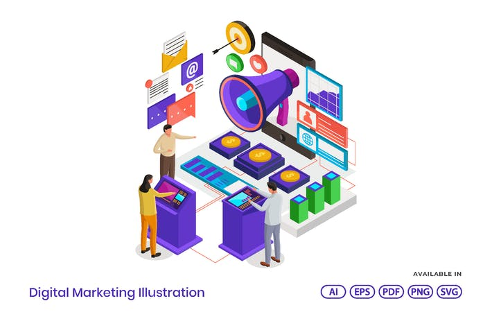 Digital Marketing Isometric
