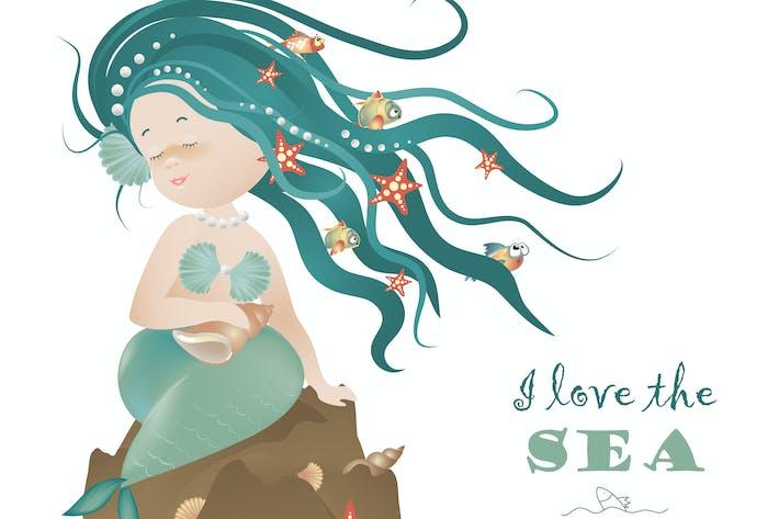 Thumbnail for Schöne Meerjungfrau Mädchen sitzt auf dem Fels.Vector