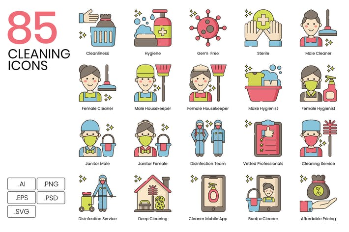 Thumbnail for 85 Cleaning Line Icons