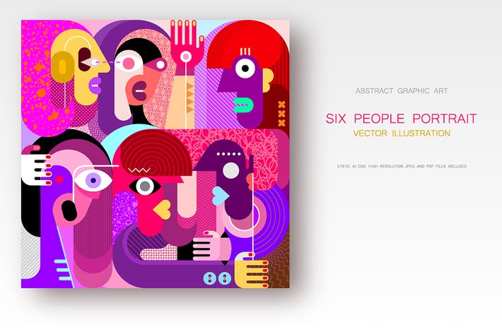 Thumbnail for Six People Portrait vector illustration, 2 options