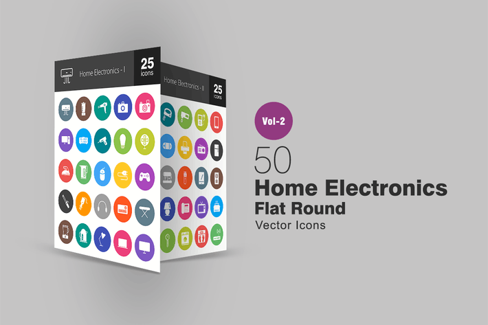 Thumbnail for 50 Home Electronics Flat Round Icons