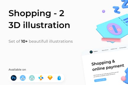 Shopping 3D Illustrations Part 2