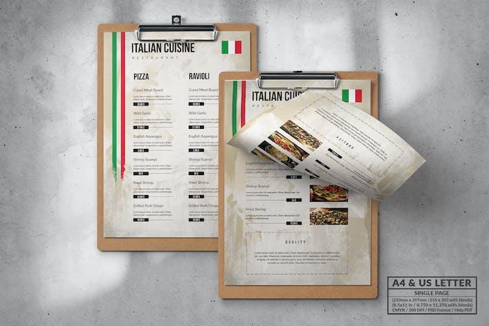 Thumbnail for Italian Food Menu Design A4 & US Letter