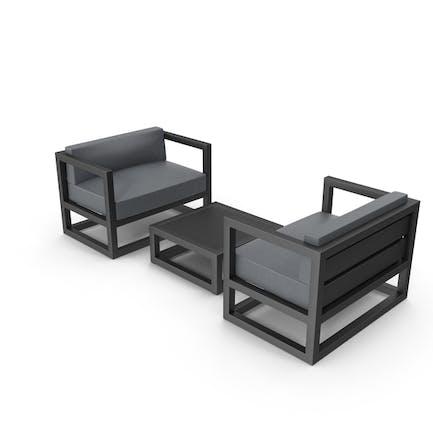 Set von Outdoor-Sofas und Tischen