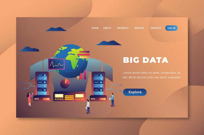 Thumbnail for Big Data - Page de destination des Vecteur PSD et AI