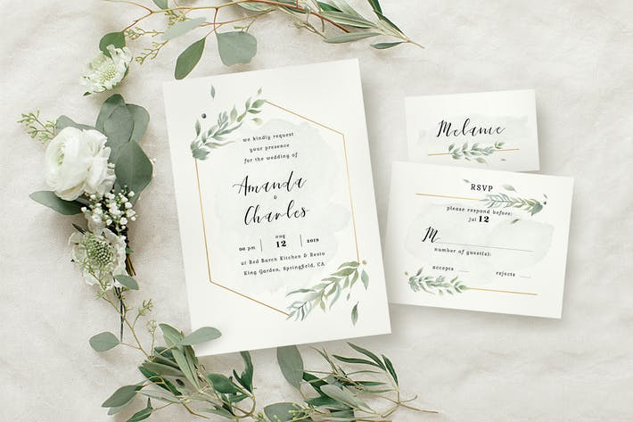 Thumbnail for Modern Gold Foliage Wedding Suite