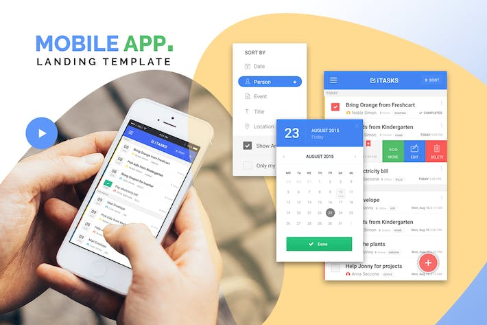 Thumbnail for Mobile App Single Page Landing PSD Template
