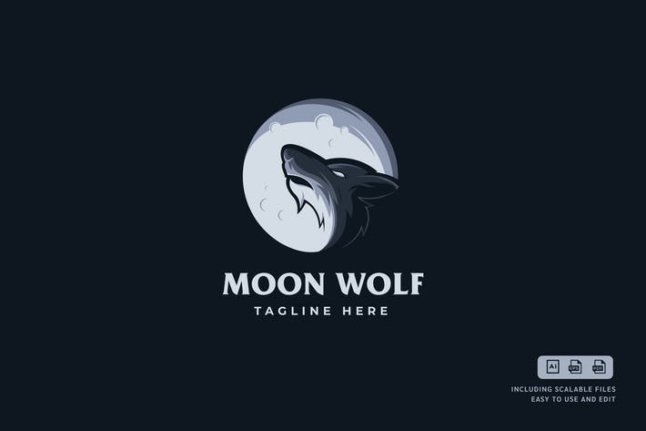 Thumbnail for Moon Wolf - Logo Design Template