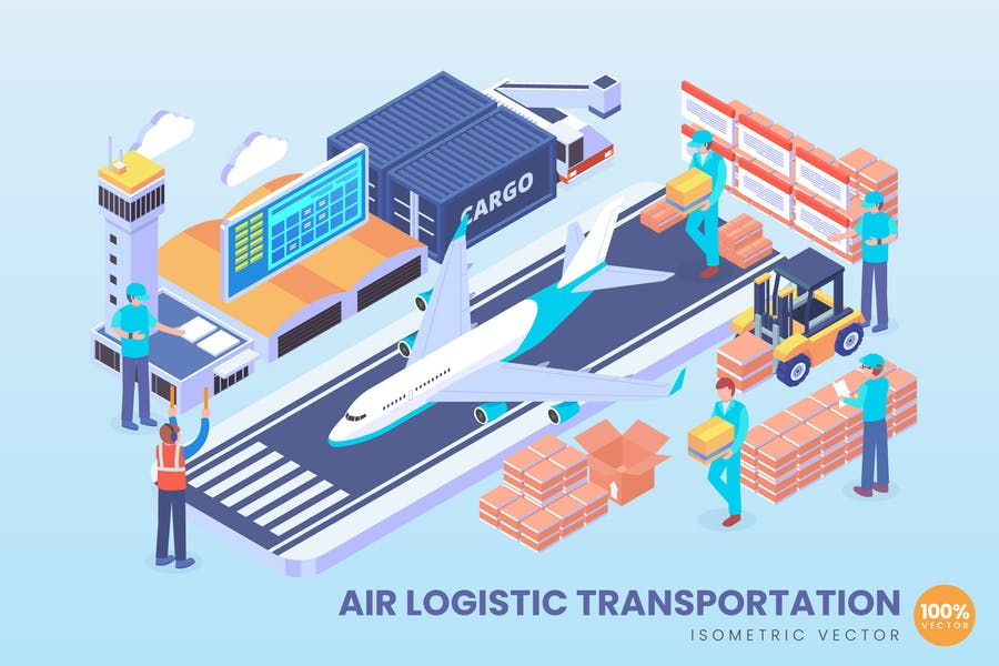Isometric Air Logistic Vector Concept