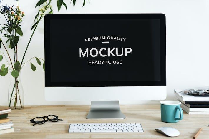 Cover Image For Computer Desktop Mockup on Wooden Desk