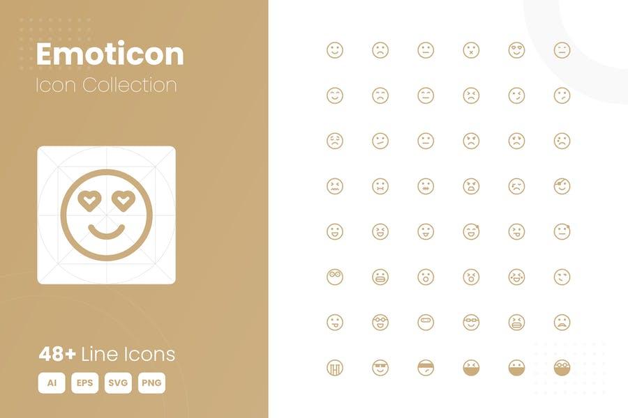 48 Emoticon Icon-Sammlung