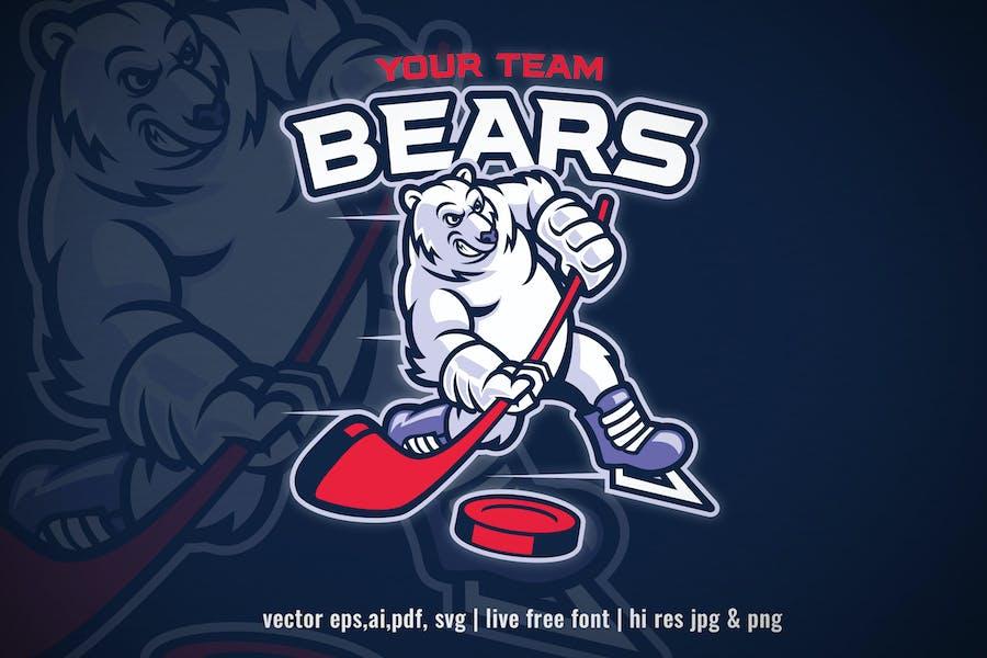 cartoon polar bear ice hockey mascot
