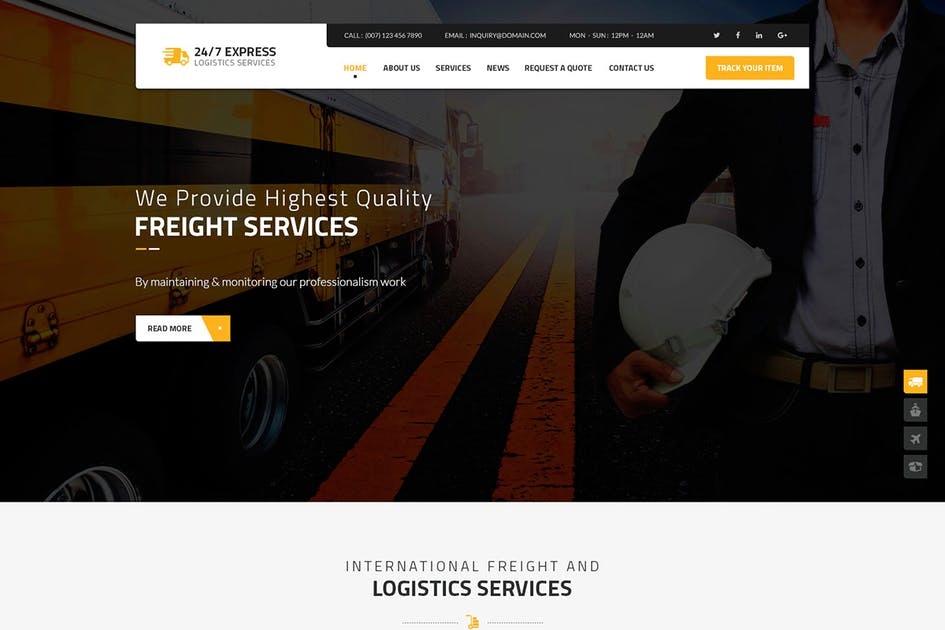 Download 24/7 Express Logistics Services HTML by Templines