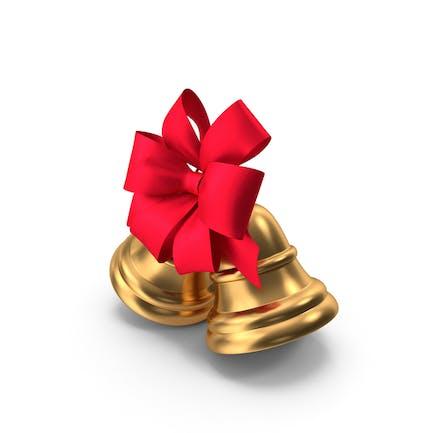 Два рождественских колокола с большой красной лентой