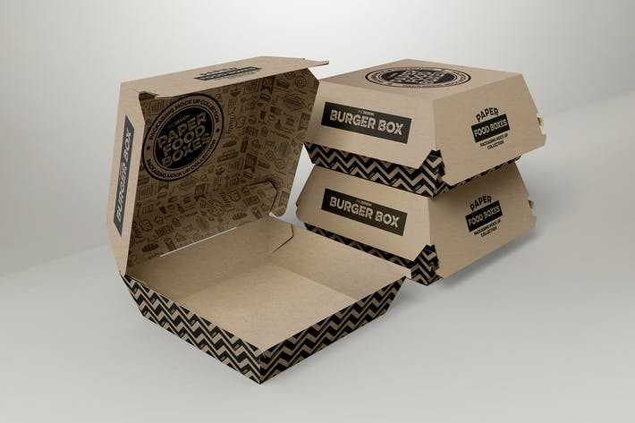 Thumbnail for Burger Box Packaging Mockup