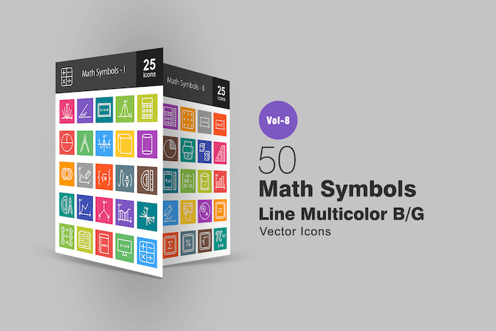 Thumbnail for 50 Math Symbols Line Multicolor B/G Icons