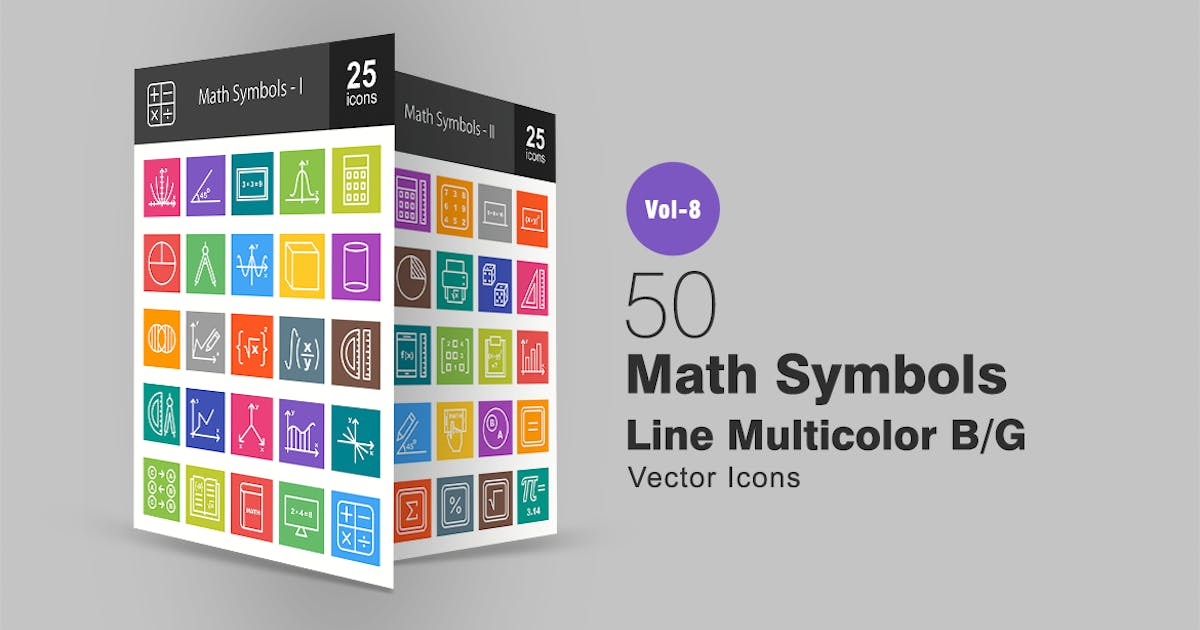Download 50 Math Symbols Line Multicolor B/G Icons by IconBunny