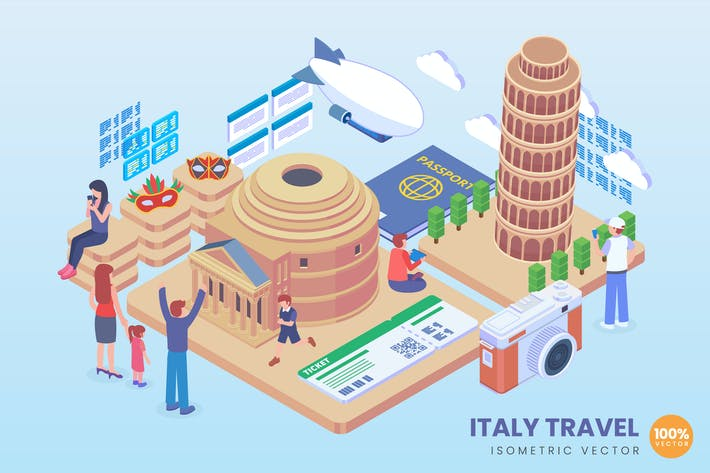 Thumbnail for Isometric Italy Travel Vector Concept
