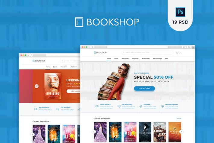 Thumbnail for Bookshop - Online Book Store PSD