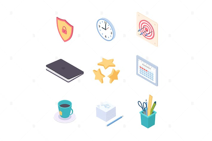 Thumbnail for Office supplies - vector isometric elements