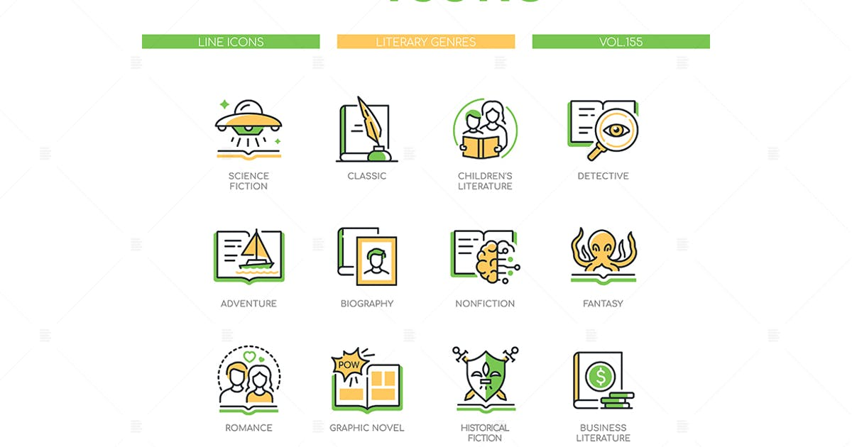 Download Literary Genres - Line Design Style Icons by BoykoPictures