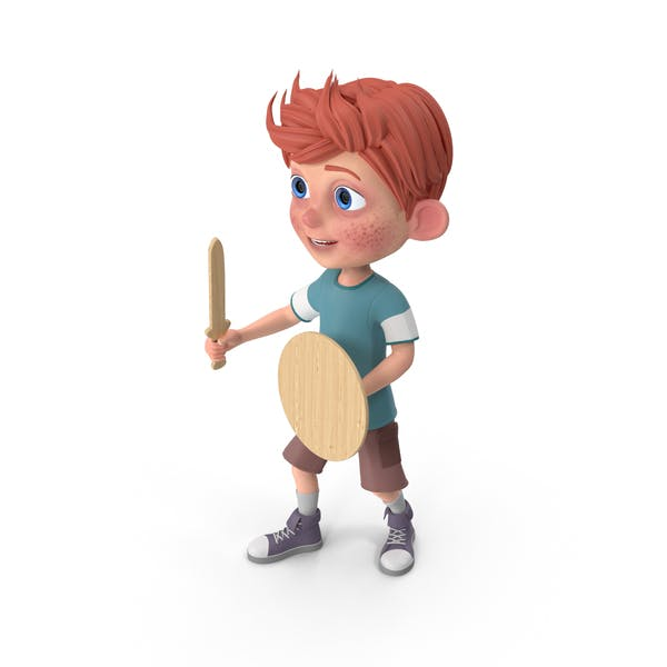 Cartoon Boy Charlie Holding Sword And Shield