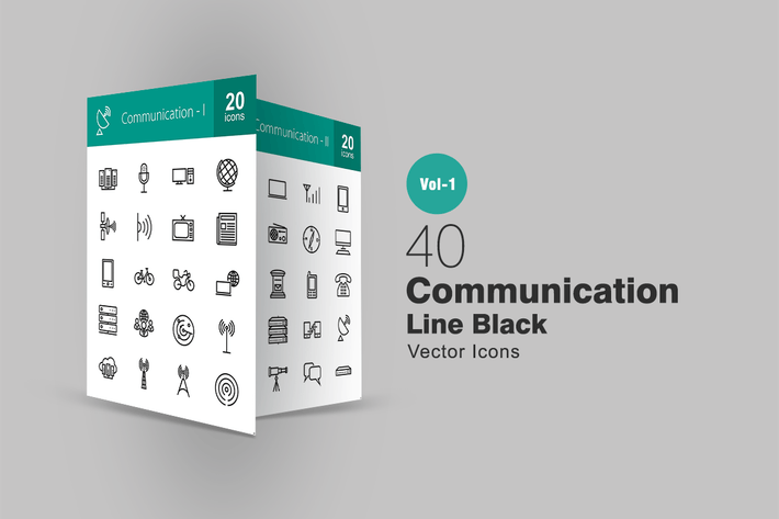 Thumbnail for 40 Communication Line Icons