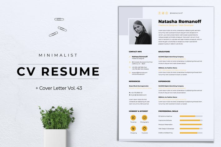 Thumbnail for Minimalist CV Resume Vol.43