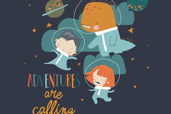 Glückliche Kinder fliegen im Kosmos mit lustigem Dinosaurier.