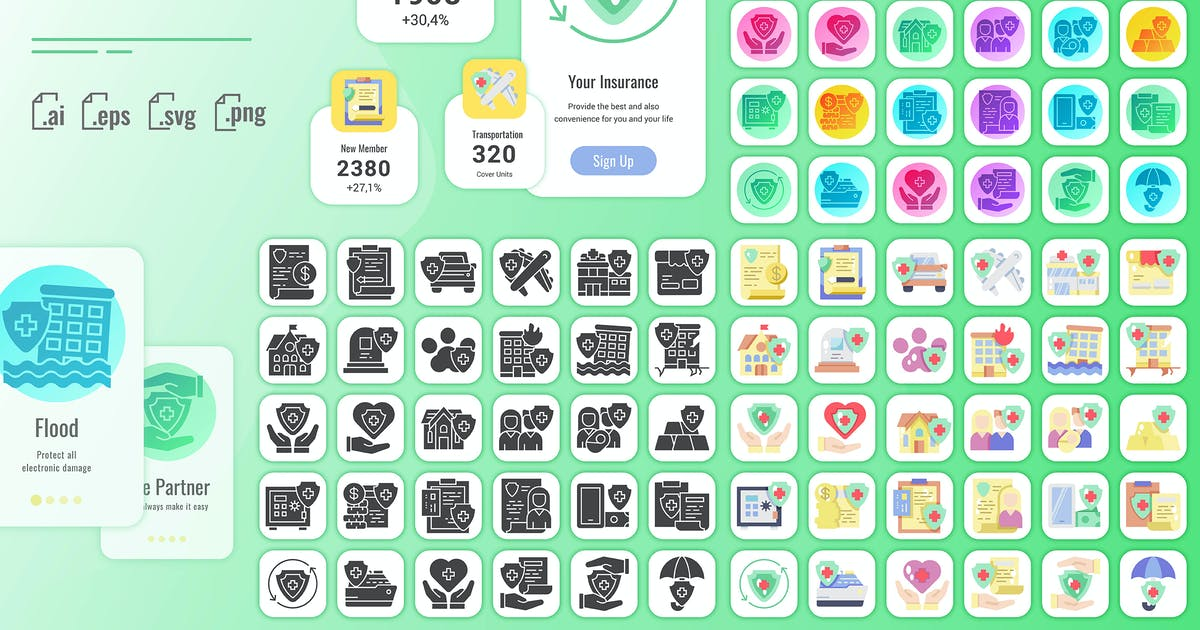Download 30 Solid Iconset Insurance with 3 styles by SlideFactory