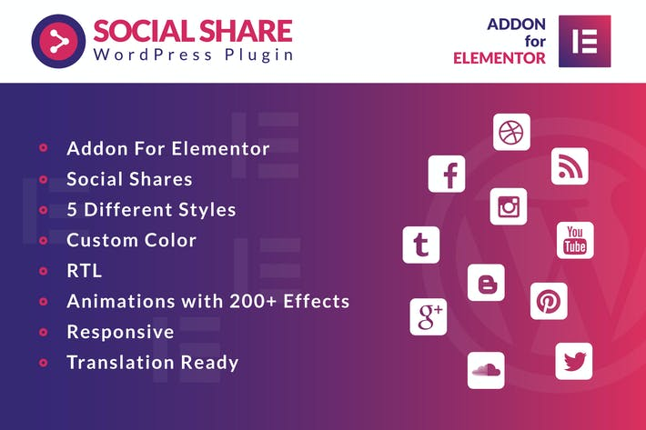 Thumbnail for Social Share for Elementor WordPress Plugin